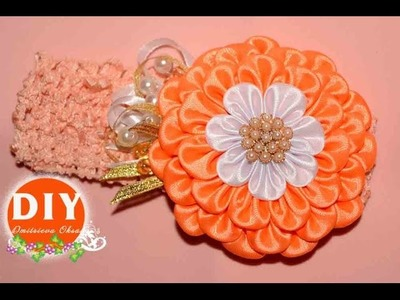 DIY.Kanzashi flower tutorial.Satin ribbon flower.Hair Headband.