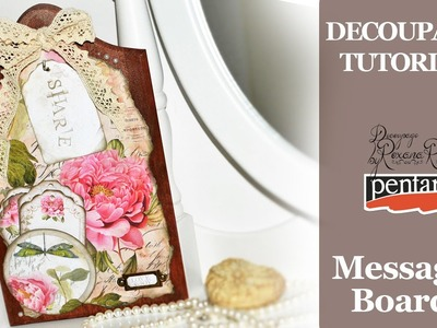 DIY message board - DECOUPAGE TUTORIAL chopping board with scrapbooking papers