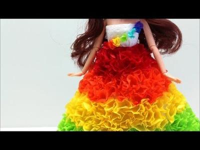 """Doll Dress Fun: DIY Prom Dress.Costume """"The Rainbow"""" (No Sew)- Doll Dress Fun"""