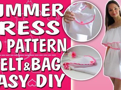 DRESS DIY TUTORIAL.Dress+Belt+Bag. WITHOUT PATTERN.Most popular summer dress