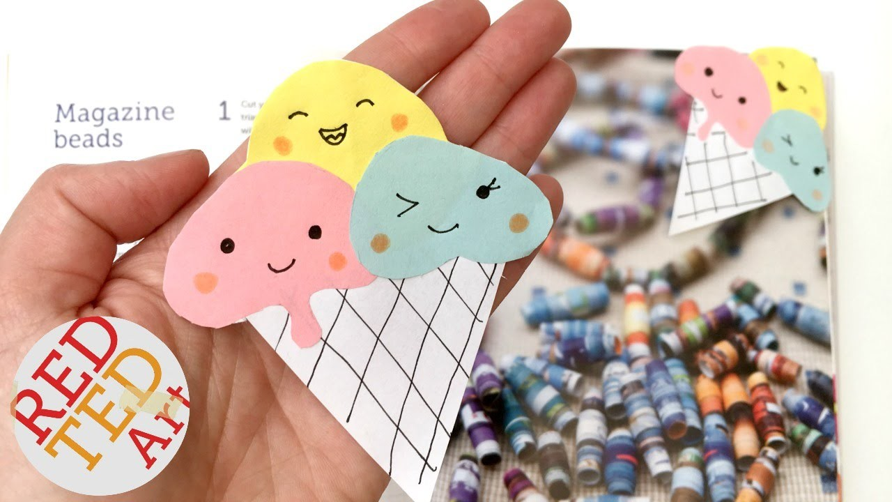 Easy Kawaii DIY - Icecream Bookmark Corners - Paper Crafts
