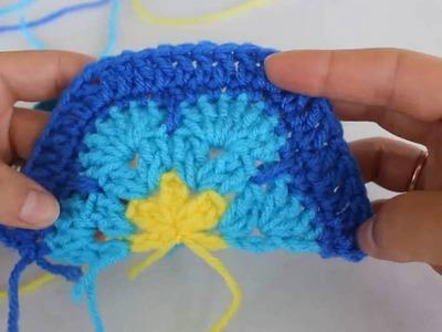 How To Crochet A Half Hexagon African Flower Motif