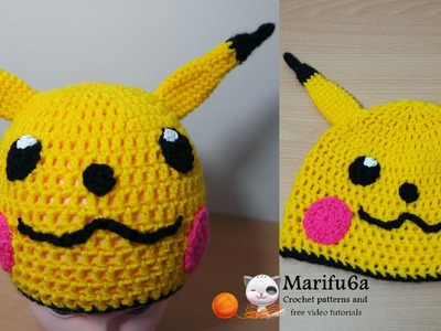 How to crochet pikachu hat pokemon free pattern tutorial by marifu6a