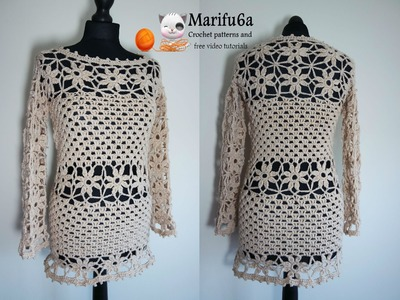 How to crochet sweater pullover tunic dress tutorial pattern by marifu6a