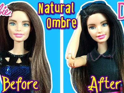 How to DIY Ombre Hair Using Dark Hair Barbie Doll - Barbie Hair Tutorial