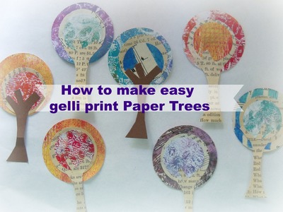 How to easy gelli print paper trees. DIY paper tree embellishments.#LoveAutumnArt