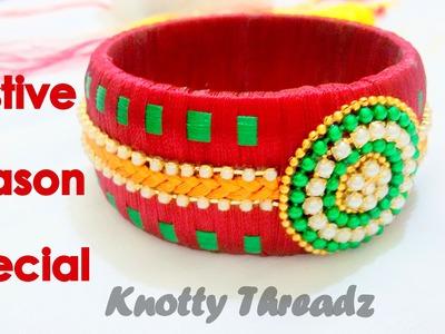 How to make a Silk Thread Kada Bangle - Checkered Pattern!!