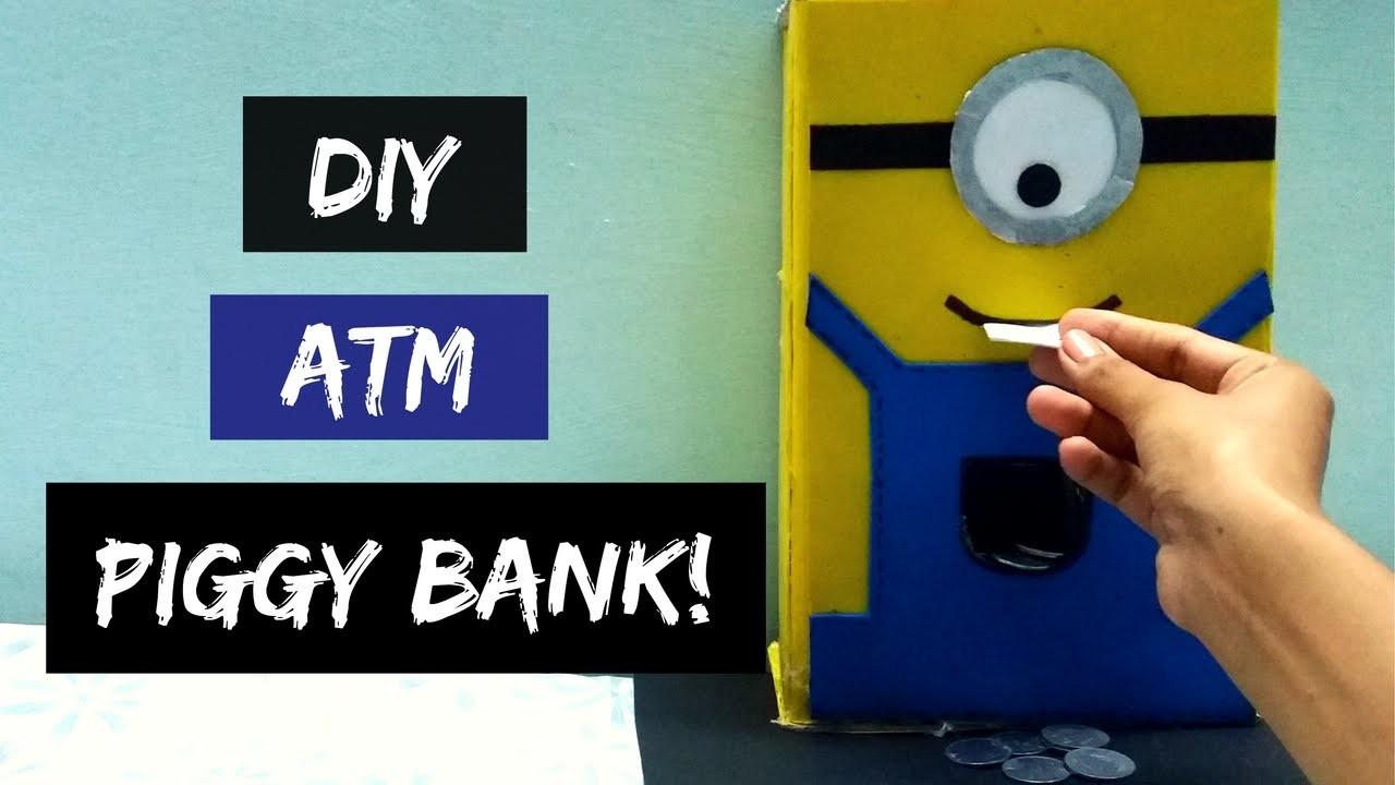 How to make ATM piggy bank at home! DIY piggy bank! ATM piggy bank for kids! Minions Inspired!