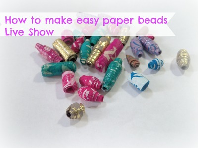 How to make easy paper beads with handmade paper. DIY Paper beads