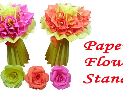 How to make paper flower stand : DIY Crafts - HD