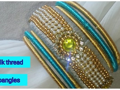 How to make pearls bangles at home.silk thread bangle making.lace bangles