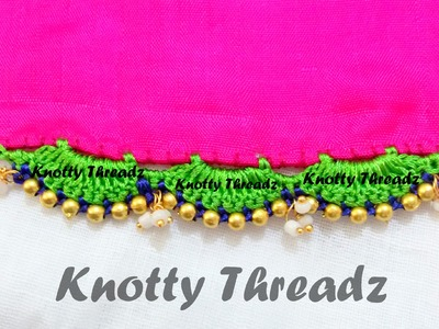 How to make Saree Tassels with beads using Silk Thread !!