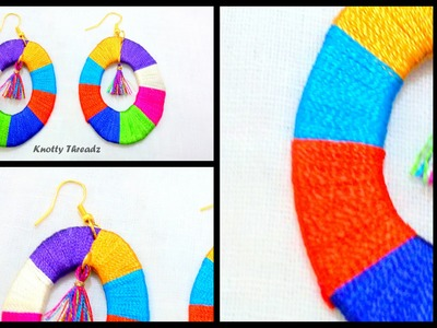 How to make Silk Thread Earrings  - Multicoloured !!