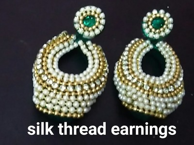 How to make''SILK THREAD EARINGS.FANCY EARINGS'' at home