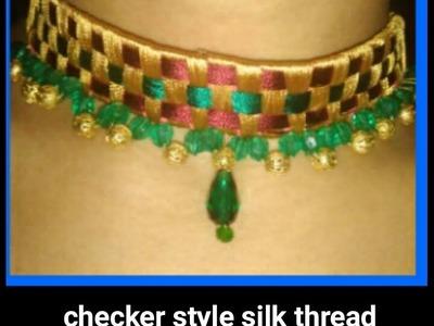 How to make silk thread jewellary checker style