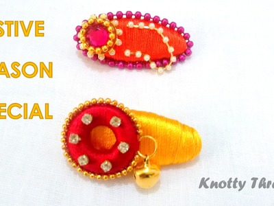 How to make Silk Thread Saree Pins Tutorial !!