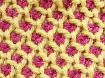 Tunisian crochet honeycomb stitch in the round