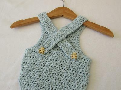 VERY EASY crochet cross back baby romper. onesie tutorial