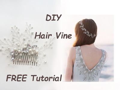 Very Easy DIY Bridal Hair Vine Comb Pin Tiara Tutorial Wire Beads Tocado para el Cabello