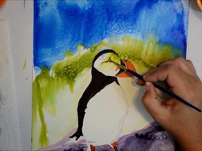 24. Alcohol Inks - How to Paint A Maine Puffin on Yupo Paper - Painting Demo