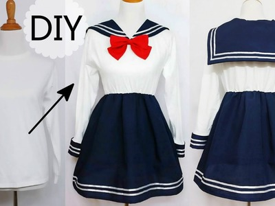 DIY: How to Transform T shirt into Navy Dress + Chinese.Qi Lolita Dress Review