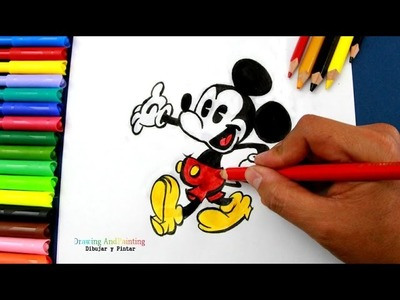 Drawing MICKEY MOUSE (Cartoons Disney Shorts) | Cómo dibujar y colorear a Mickey Mouse