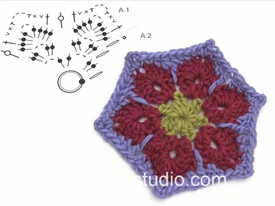 DROPS Crocheting Tutorial: How to work the hexagon in the blanket in DROPS 173-24