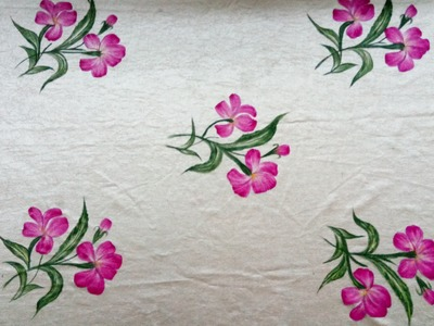 Fabric Painting-3|How to paint Curtains or Bedsheets |Learn Painting in Simple Designs |One Stroke