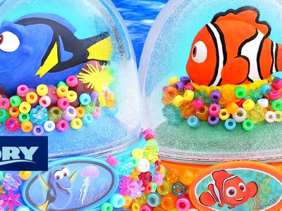 FINDING DORY NEMO GLITTER GLOBES 2 How to Paint Make Your Own Coral Colorful Beads Bright Happy