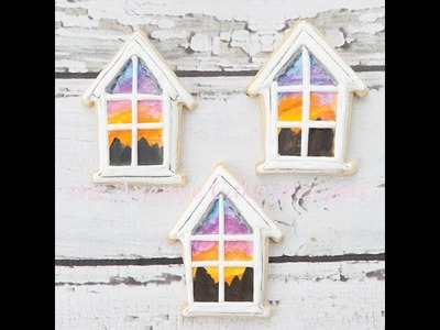 How to Decorate Victorian Hand Painted Sunset Window Scene Cookies