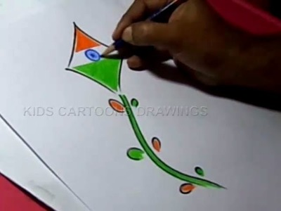How to Draw Independence day Easy Greeting Step by Step for kids