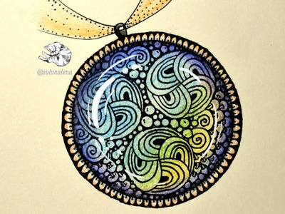 How to Draw Round Glass Cabochon Tile Zentangle Pendant