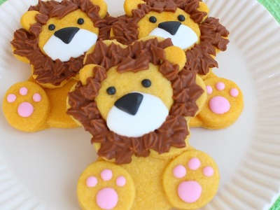 How to make cute & easy lion cookie - Decorated with colored cookie dough