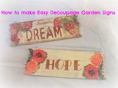 How to make decoupage wood garden signs. Tutorial.How to make a DIY Pallet Sign w. Decoupage