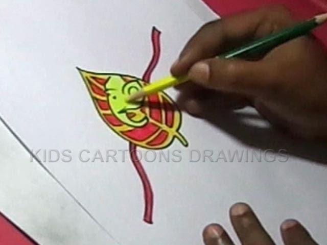 How to Make Handmade Leaf Ganesha Rakhi Drawing for Kids Step by step