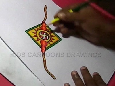 How to Make Handmade Swastik Rakhi Drawing for Kids Step by step