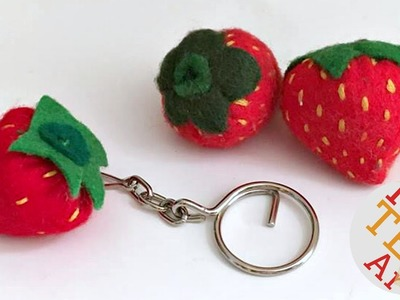 How to sew Felt Strawberry Keychains - Back to School - Easy Sewing Projects