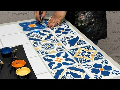 How to Stencil Furniture: Mexican Talavera Tile Table with Chalk Paint