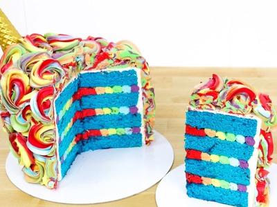Rainbow Unicorn Cake Idea - How To by CakesStepbyStep