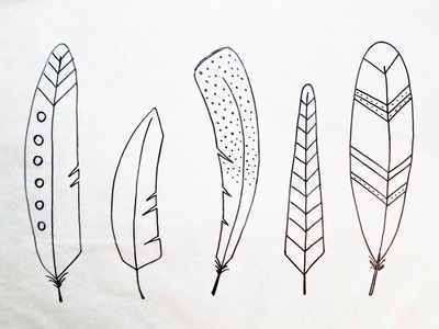 Whimsical Feather Drawings | How to Draw 5 Easy Feathers | Feather Art Part 1