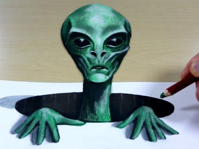 3D Trick Art on Paper   Alien