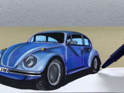 3D Trick Art on Paper Volkswagen Beetle