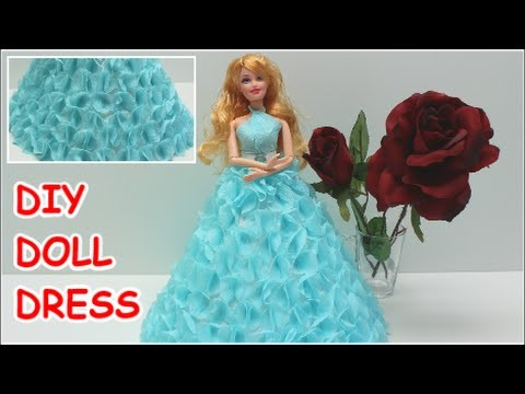 Cinderella Doll Dress from Crepe Paper - Doll Dress Fun