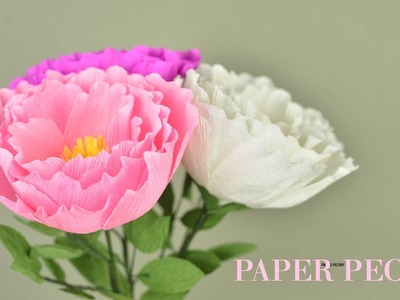 Crepe Paper Peony Flower Tutorial with Template | Creative DIY