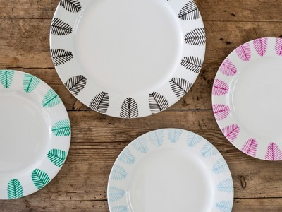 DIY: Decorate dinner plates with porcelain markers by Søstrene Grene