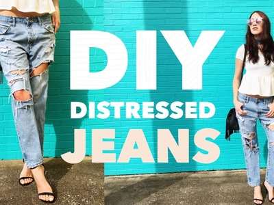 DIY Distressed Jeans: Easy Tutorial + Try on
