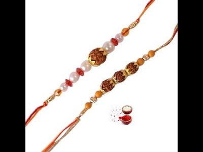 DIY: HOW TO MAKE FANCY PEARL WITH RUDRAKSH RAKHI STEP BY STEP JUST 1 MIN