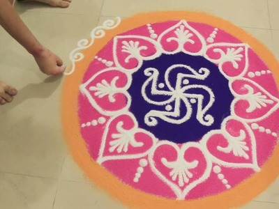 How I Draw Colorful Sand Rangoli : Beautiful Floral Rangoli Step BY Step