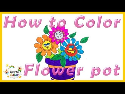 How to Color Flower pot - Flower Coloring Pages - #Flower Coloring Book - #HowToColor.#1