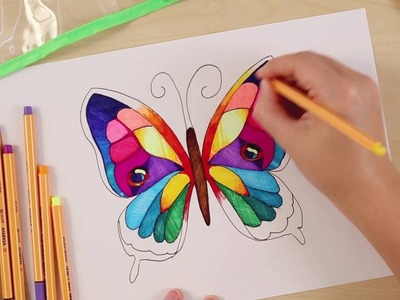 How to draw a butterfly (STABILO Tutorials, intermediate)